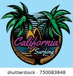 color vector template with palm ... | Shutterstock .eps vector #750083848