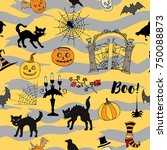 halloween seamless pattern with ... | Shutterstock . vector #750088873