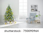christmas tree decorate on...   Shutterstock . vector #750090964