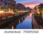naviglio grande canal at sunset ... | Shutterstock . vector #750092560