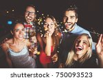 group of people having a party  ... | Shutterstock . vector #750093523