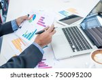 business man working on... | Shutterstock . vector #750095200