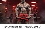 muscular athletic bodybuilder... | Shutterstock . vector #750101950