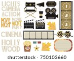 set of cinema and film concepts ... | Shutterstock .eps vector #750103660