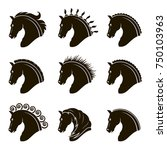 Stock vector monochrome collection of horse heads with different manes 750103963