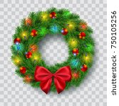 christmas wreath with lights ... | Shutterstock .eps vector #750105256