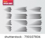 speed lines isolated. set of... | Shutterstock .eps vector #750107836
