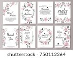 set of card with flower rose ... | Shutterstock .eps vector #750112264