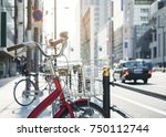 bicycle parking street with car ... | Shutterstock . vector #750112744