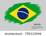 grunge styled flag of brazil.... | Shutterstock .eps vector #750113446