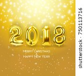 2018 new year background with... | Shutterstock .eps vector #750113716