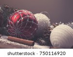 christmas decorative elements... | Shutterstock . vector #750116920