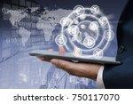 fintech. business man using... | Shutterstock . vector #750117070