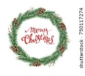 watercolor christmas wreath of...   Shutterstock . vector #750117274