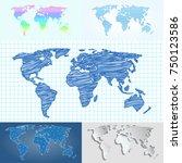 maps globe earth contour... | Shutterstock .eps vector #750123586