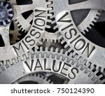 Small photo of Macro photo of tooth wheel mechanism with MISSION, VISION, VALUES words imprinted on metal surface