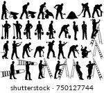 big set of vector silhouettes... | Shutterstock .eps vector #750127744