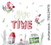 watercolor christmas typography ...   Shutterstock . vector #750129970