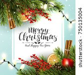 christmas greeting card with... | Shutterstock .eps vector #750135004