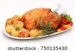 roast chicken  | Shutterstock . vector #750135430