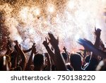 portrait of happy crowd... | Shutterstock . vector #750138220
