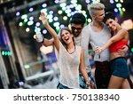 group of friends having great... | Shutterstock . vector #750138340