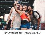 happy friends taking selfie at... | Shutterstock . vector #750138760