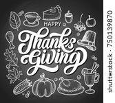 happy thanksgiving brush hand... | Shutterstock .eps vector #750139870