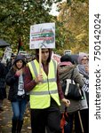 4th November 2017, London, United Kingdom:-Pro Palestine demonstrators march through London against the Balfour declaration of 1917 and the on going Isreali occupation - stock photo