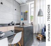 functional loft interior with... | Shutterstock . vector #750142348