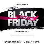 black friday sale banner layout ... | Shutterstock .eps vector #750144196