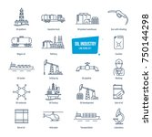 oil industry thin line icons ... | Shutterstock .eps vector #750144298