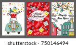 merry christmas greeting card... | Shutterstock .eps vector #750146494