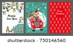 merry christmas greeting card... | Shutterstock .eps vector #750146560