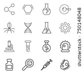 thin line icon set   molecule ... | Shutterstock .eps vector #750148048