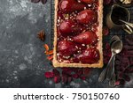 tart with red wine poached... | Shutterstock . vector #750150760