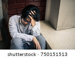business man is stressed from... | Shutterstock . vector #750151513