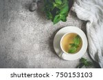 cup of mint tea  fresh mint... | Shutterstock . vector #750153103