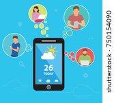 weather forecast concept design.... | Shutterstock .eps vector #750154090