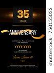 35 years golden anniversary... | Shutterstock .eps vector #750155023