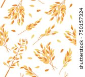 Oat Branches Seamless Pattern ...