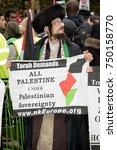 4th November 2017, London, United Kingdom:-Jewish men protesting Israel at a pro Palestine rally in Parliment Square - stock photo