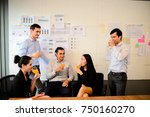 business team are drinking... | Shutterstock . vector #750160270