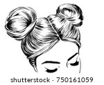 woman with double space buns.... | Shutterstock .eps vector #750161059