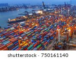 industrial port with containers | Shutterstock . vector #750161140