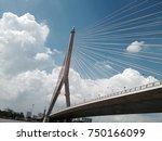 drama vi bridge and cloudy blue ... | Shutterstock . vector #750166099