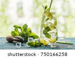 mojito cocktail with lime and... | Shutterstock . vector #750166258