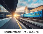 beautiful train with blue... | Shutterstock . vector #750166378