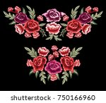 vintage rose embroidery design  ... | Shutterstock .eps vector #750166960