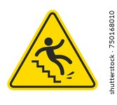slippery stairs warning. yellow ... | Shutterstock .eps vector #750168010